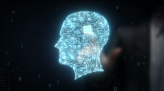 Businessman touching Brain head connect digital lines, artificial intelligence - stock footage