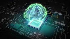 Hologram Brain on CPU chip, grow artificial intelligence technology. Stock Footage