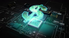 Cpu on hologram Dollar sign, Digital financial concept. Stock Footage