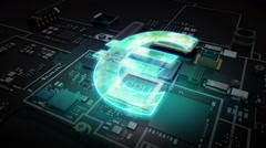 Cpu on hologram EURO sign, Digital financial concept. - stock footage