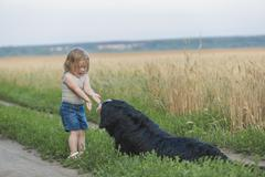 Girl playing with dog on field Kuvituskuvat