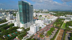 Miami Beach 21st Street aerial video Stock Footage