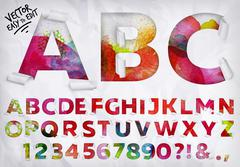 Wrapped alphabet watercolor - stock illustration