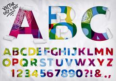 Wrapped alphabet vivid - stock illustration