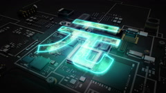 Cpu on hologram Yuan sign, Digital financial concept. - stock footage