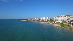 Cinematic aerial video of Fisher Island Miami Beach FL prores codec Stock Footage