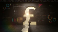 Businessman standing in front of Pound sign black wall, with economic diagram Stock Footage