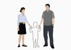 Illustrative image of parents holding hands of missing son over white background Stock Illustration