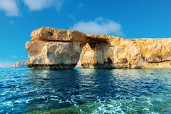 Azure Window, famous stone arch of Gozo island in the sun in the winter Malta Stock Photos