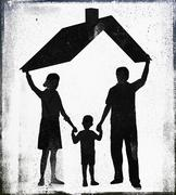 Illustrative image of parents with son standing under roof representing home - stock illustration