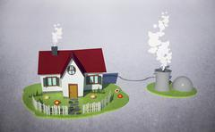 Illustrative image of house with biogas plant Stock Illustration