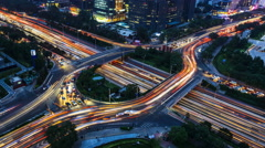 4K: Aerial View of freeway busy city rush hour heavy traffic jam highway. Stock Footage