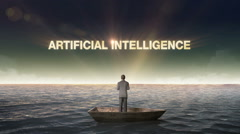 Rising typo ARTIFICIAL INTELLIGENCE, front of Businessman on a ship, ocean. - stock footage
