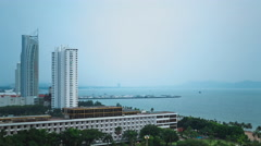 4k,Timelapse view of PATTAYA beach in rainy day. CHONBURI, Thailand . Stock Footage