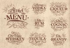 Set alcohol menu retro - stock illustration