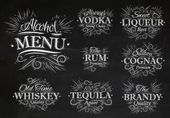 Set alcohol menu chalk - stock illustration