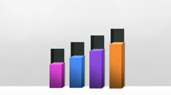 Four 3D square bar Chart, Increase economic graph (included alpha) - stock footage