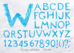 Alphabet pastel blue - stock illustration