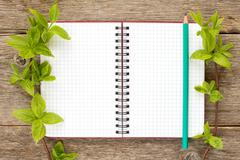 Tree branches and blank notebook Stock Photos