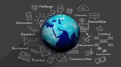 Chalk drawing, Growing global business concept. 2 - stock footage