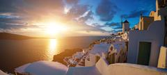 Famous beautiful Oia village on a summer morning, Santorini island, Cyclades, Stock Photos