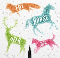 Tangled line deer color - stock illustration
