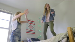 Friends Rock Out, Practice Old Dance Moves And Air Guitar Stock Footage