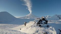 View on eruption Klyuchevskoy Volcano - active Kamchatka volcano Stock Footage