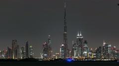 Skyline of Downtown Dubai at night timelapse Stock Footage