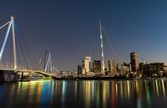 Auckland Skyline reflecting on Westhaven Marina Stock Photos