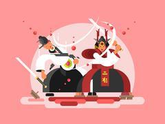 Sushi samurai design - stock illustration