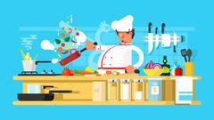 Chef prepares in kitchen - stock illustration