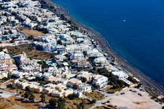 Aerial view of the town of Kamari, Santorini, Greece Stock Photos