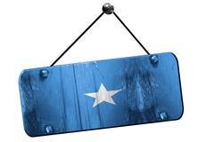 Somalia flag, 3D rendering, vintage grunge hanging sign - stock illustration