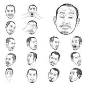 Drawing set of young asian man's portraits Stock Illustration