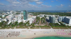 Arriving in Miami Beach aerial video Stock Footage