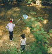 Children, nature, family, love, forest,    adventure, fishing, boy, girl - stock photo