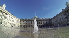 Water fountains by Somerset House in London, UK. Slow motion. Only editorial use Stock Footage