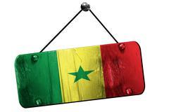 Senegal flag, 3D rendering, vintage grunge hanging sign - stock illustration