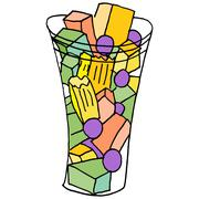 fruit cup snack - stock illustration