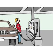 Driver pumping gas at station - stock illustration