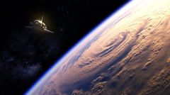 Space Shuttle Flying Over The Earth Stock Footage