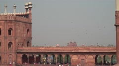 Jama Masjid View on Red Fort Birds 4K Stock Footage