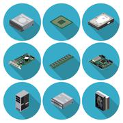 Flat icons computer components Stock Illustration
