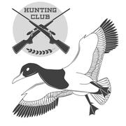 Vintage label with a duck, weapons for lucky hunting club. Vector - stock illustration