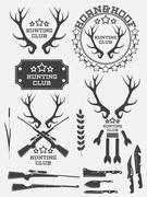 Set of vintage hunting logo, labels and badges. Deer. Horn. Weapon. Vector Stock Illustration