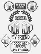 Vintage craft beer brewery emblems, labels and design elements. Beer my best  - stock illustration