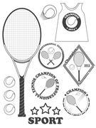 Tennis league labels, emblems and design elements. Vector - stock illustration