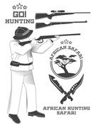 African hunter safari labels, emblems and design elements. Vector Stock Illustration