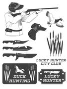 African hunter safari labels, emblems and design elements. Vector - stock illustration
